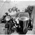 Joan and her brother on Mr Cook's motorbike