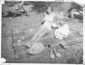 Joan sunbathing