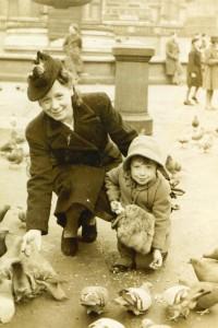 Joan and her mum in Trafalgar Square