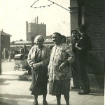 Charlotte McMarth in Boxley Street, with the Plaistow Wharf factory in the background